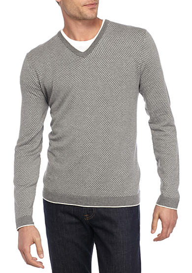 Michael Kors Long Sleeve Cotton Dot V-Neck Sweater