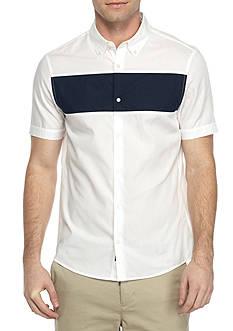 Michael Kors Short Sleeve Slim Fit Cuffed Sleeve Block Print Shirt