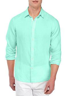 Michael Kors Long Sleeve Tailor Fit Solid Linen Shirt