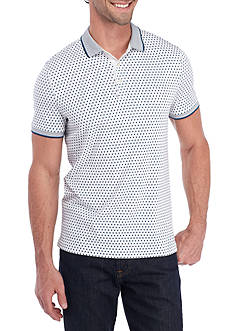 Michael Kors Short Sleeve Double Square Print Polo