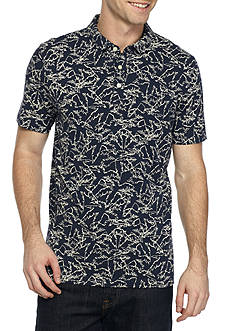 Michael Kors Short Sleeve Palm Print Polo Shirt