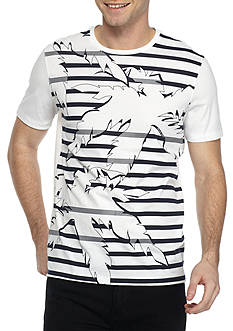 Michael Kors Short Sleeve Stripe Palm Graphic Tee