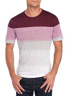 Michael Kors Short Sleeve Stripe Linen Crew Neck Shirt