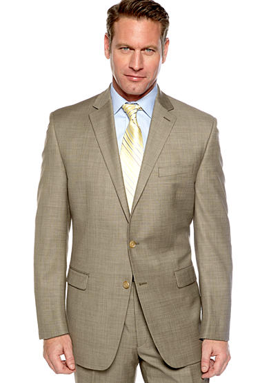 Lauren Ralph Lauren Tailored Clothing Taupe Sharkskin Suit