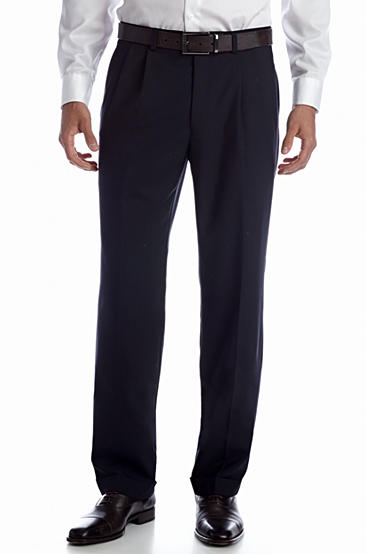 Lauren Ralph Lauren Tailored Clothing Wool Navy Pleated Pant