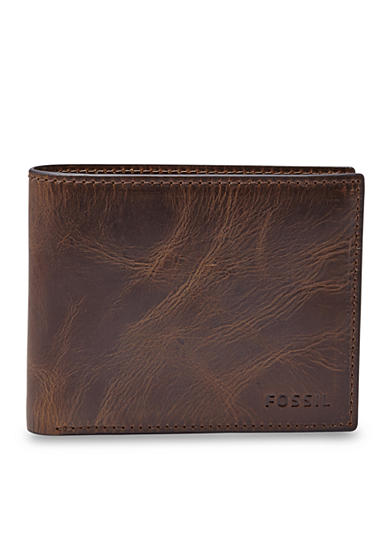 Fossil® Derrick Leather RFID Bifold with Flip ID Wallet