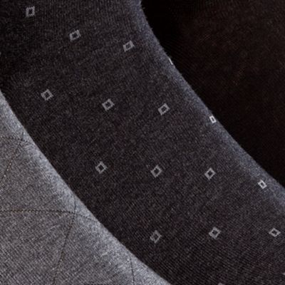 Mens Dress Socks: Gray And Charcoal And Black Calvin Klein 3-Pack Patterned Dress Socks