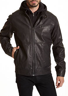 Excelled Faux Leather Hooded Jacket