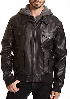 Excelled Faux Leather Bomber Jacket