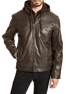 Excelled Faux Leather Hoodie Jacket