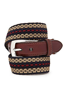 Brighton Nantucket Leather Fabric Striped Belt