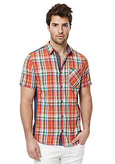 BUFFALO DAVID BITTON Safret Short Sleeve Plaid Woven Shirt