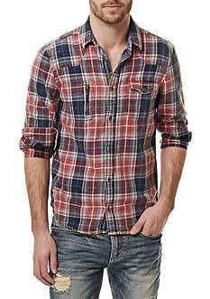 BUFFALO DAVID BITTON Long Sleeve Siwell Double Pocket Plaid Shirt