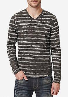 BUFFALO DAVID BITTON Long Sleeve Kastripe Knit V-Neck Shirt