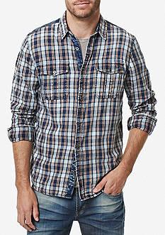 BUFFALO DAVID BITTON Long Sleeve Sassire Indigo Plaid Shirt