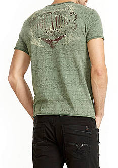 BUFFALO DAVID BITTON Short Sleeve Taraw Crew Neck Raw Edge Shirt