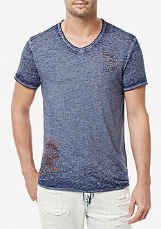 BUFFALO DAVID BITTON® Short Sleeve Tafate Burnout V-Neck Tee