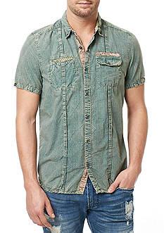 BUFFALO DAVID BITTON Short Sleeve Sadine Washed Pinstripe Shirt
