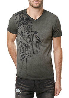 BUFFALO DAVID BITTON Short Sleeve Tisign Skull Graphic V-Neck Tee