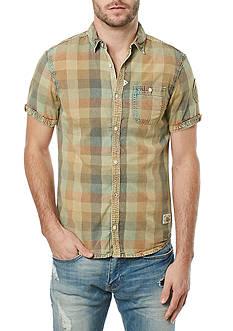 BUFFALO DAVID BITTON Short Sleeve Savalica Textured Plaid Shirt