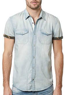 BUFFALO DAVID BITTON Short Sleeve Salaneyis Light Denim Camo Collar Shirt