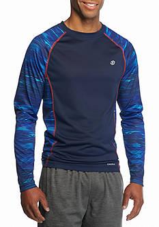 SB Tech Long Sleeve Lines Print Crew Neck Shirt