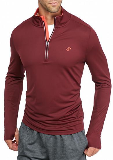 Sb tech long sleeve running 1 4 zip shirt belk for Long sleeve technical running shirt