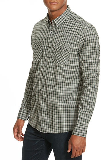 Kenneth Cole Slim-Fit Two Pocket Check Shirt