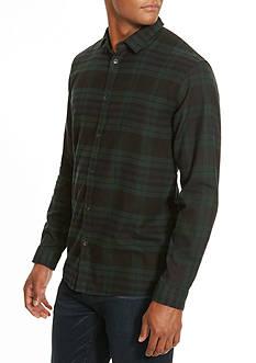 Kenneth Cole Long Sleeve Black Watch Plaid Flannel Shirt