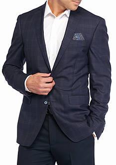 Tallia Orange Slim-Fit Windowpane Sport Coat