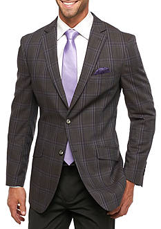 Tallia Orange Slim Fit Windowpane Wool Sport Coat