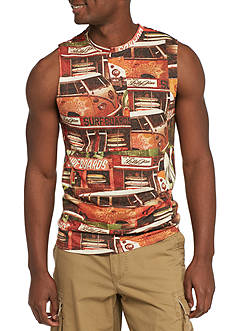 Red Camel Sleeveless City Surfer Print Muscle Tee