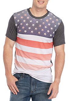Red Camel® Short Sleeve Flag Chest Crew Neck Tee
