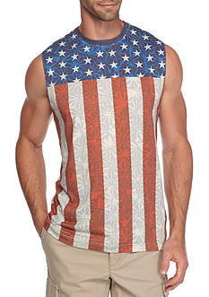 Red Camel Sleeveless Flag Allover Muscle Tank