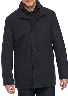 London Fog Tall 32 Stand Collar Wool Coat