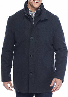 London Fog Big & Tall Stand Collar Wool Button Down Coat