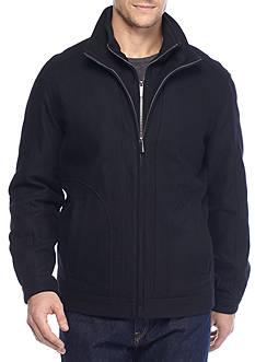 London Fog Big & Tall Stand Collar Wool Zip Front Jacket