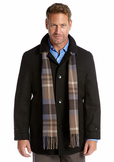 London Fog® Wool Car Coat with Plaid Scarf