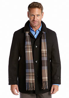 London Fog Wool Car Coat with Plaid Scarf