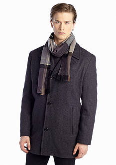 London Fog Big & Tall Wool Coat with Scarf