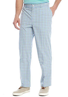 Saddlebred® Flat Front Gingham Pants