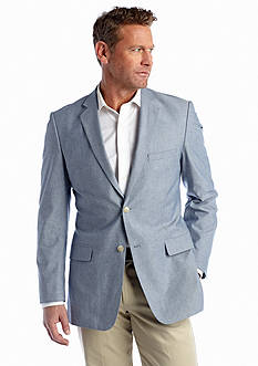 Saddlebred® Big & Tall Classic Fit Blue Chambray Sport Coat