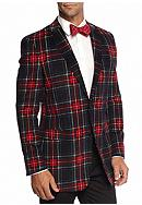 Saddlebred® Classic Fit Red Navy Tartan