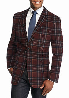 Saddlebred Classic-Fit Burgundy Plaid Corduroy Sport Coat