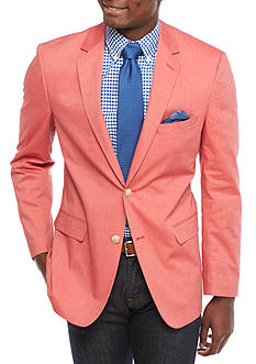 Saddlebred Classic-Fit Red Chambray Sport Coat