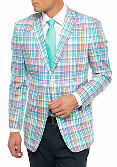 Saddlebred Classic-Fit Blue Green Pastel Plaid Sport Coat