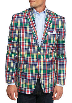 Saddlebred Classic-Fit Navy/Red Plaid Sport Coat