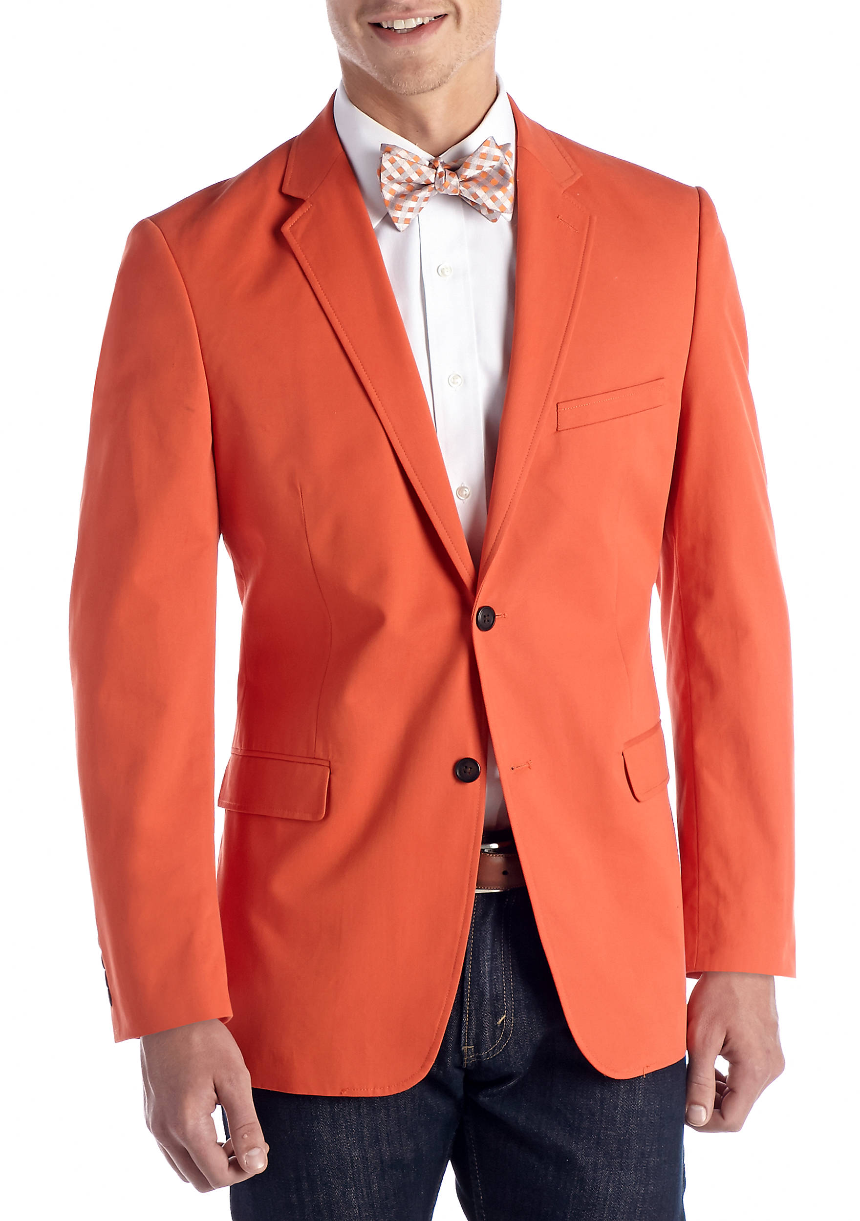 Saddlebred® Classic-Fit Cotton Oxford Mid Orange Blazer | belk