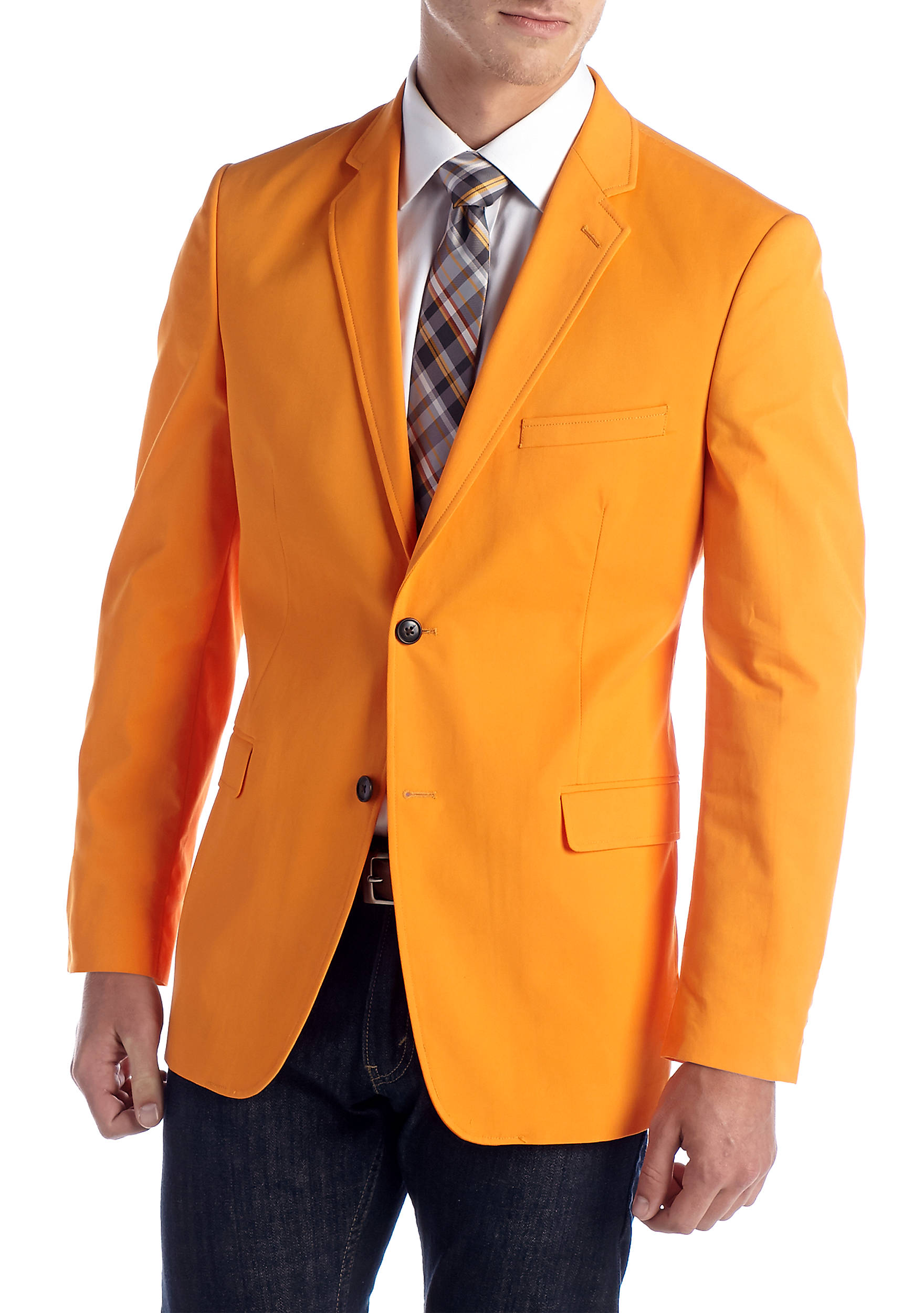 Saddlebred® Classic-Fit Cotton Oxford Bright Orange Blazer | belk