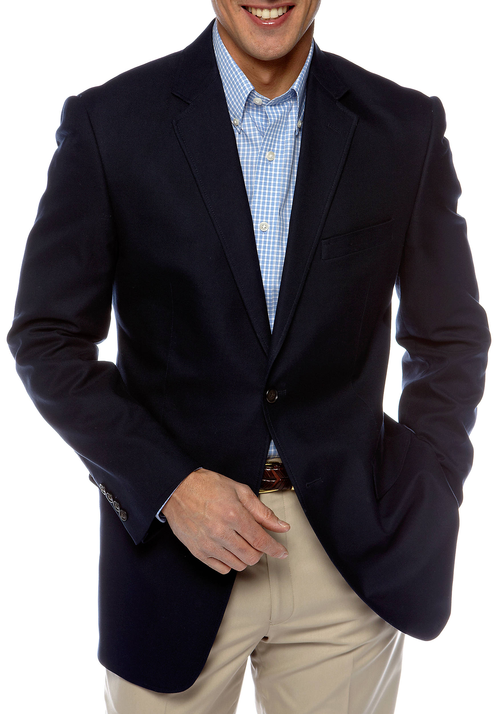 Saddlebred® Classic Fit Navy Cotton Oxford Sportcoat | belk